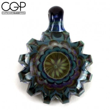 "juju Glass - Faceted Pendant - ""Blue Lilly"" (Pendant #57)"