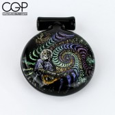 Berzerker - Dichroic Glass Jammin Jerry Garcia with Psychedelic Swirls Pendant