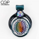 Eusheen Glass - Blue Stardust Rainbow Linework Pendant with Opal