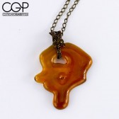 Jamie Burress - Wire Wrap Amber Drip Concentrate Pendant Necklace