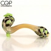 Lizzard Glass - Bow Leopard Sherlock Pipe - Green