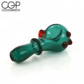 Teal Glass Spoon Pipe with Red Glass Accents