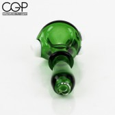 Green Glass Spoon Pipe with White Glass Accents