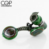 Slick Glass - Fully Worked Wig-Wag Sherlock Pipe with Faceted Opal Encasement - Green/Multicolor